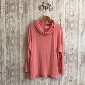 Lou and Grey pink cowl neck long sleeve tee